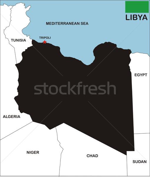 Libië kaart politiek land buren Stockfoto © tony4urban