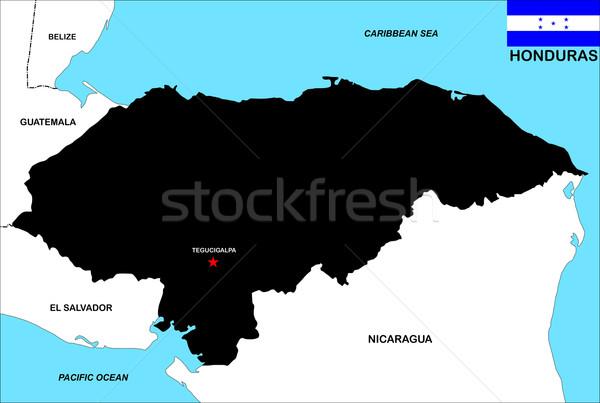 Honduras mapa grande tamanho preto ilustração Foto stock © tony4urban