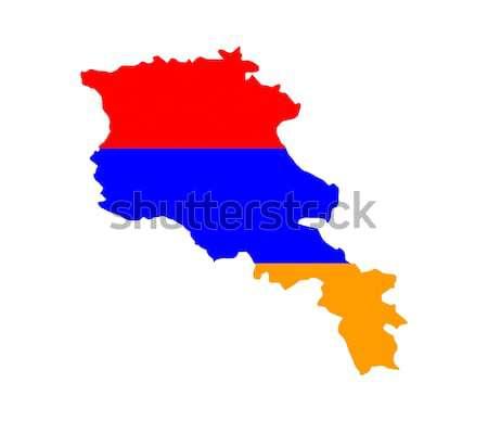 Örményország zászló térkép vidék forma Stock fotó © tony4urban