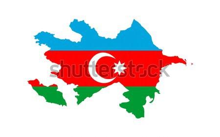 Azerbaiyán bandera mapa país forma Foto stock © tony4urban