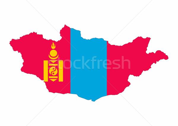 Mongolië vlag kaart land vorm Stockfoto © tony4urban