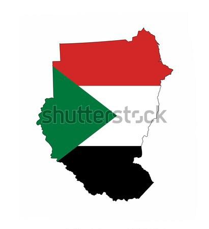Soedan vlag kaart land vorm Stockfoto © tony4urban