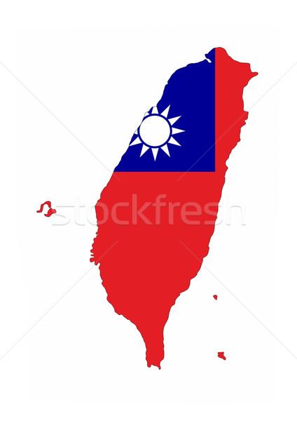 Tayvan bayrak harita ülke biçim Stok fotoğraf © tony4urban