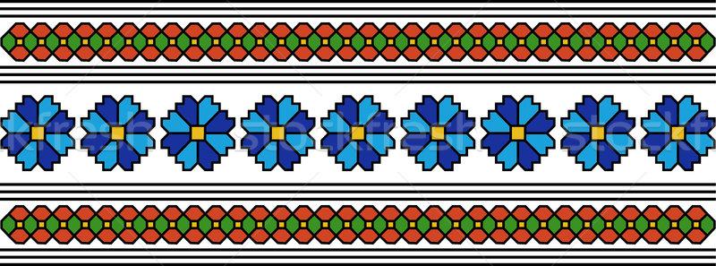 Rumano popular patrón resumen flor motivos Foto stock © tony4urban