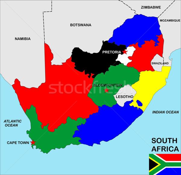 南アフリカ 地図 ビッグ サイズ 政治的 フラグ ストックフォト © tony4urban