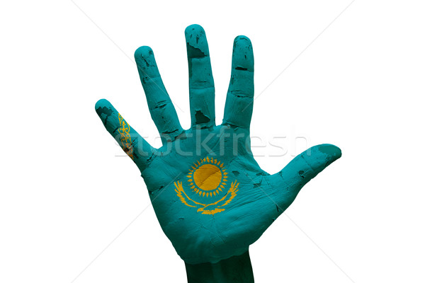 Palm флаг Казахстан человека стороны кулаком Сток-фото © tony4urban
