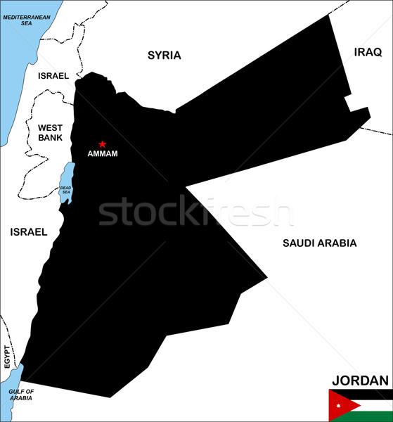 Jordanië kaart groot maat zwarte illustratie Stockfoto © tony4urban