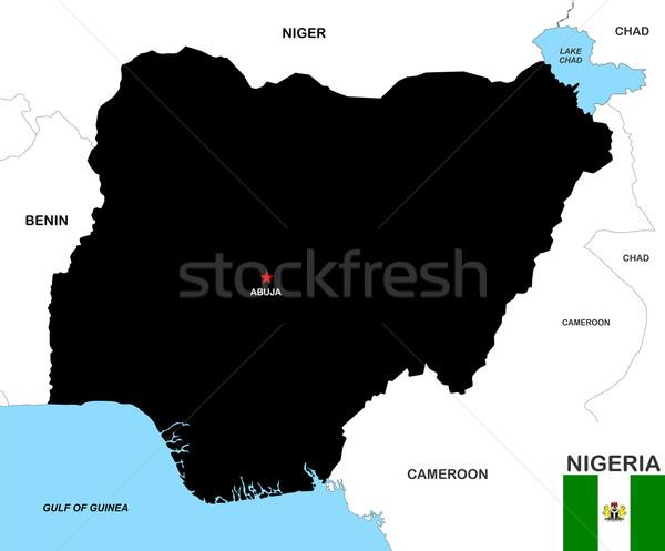 Nigéria mapa grande tamanho preto bandeira Foto stock © tony4urban