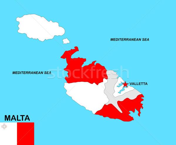 Malta mappa grande dimensioni politico bandiera Foto d'archivio © tony4urban