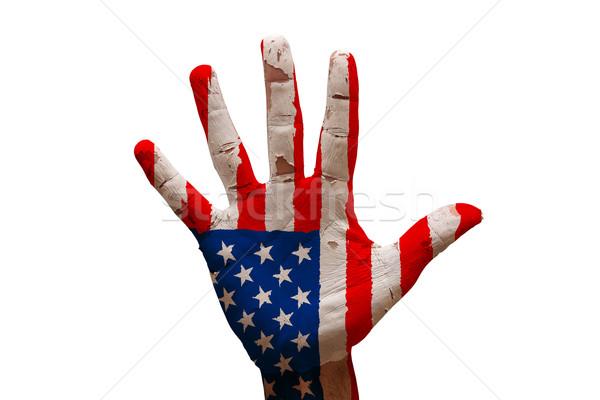 Palm vlag Verenigde Staten man hand geschilderd Stockfoto © tony4urban