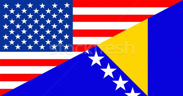 EUA Bosnia Herzegovina bandera Estados Unidos América mitad Foto stock © tony4urban