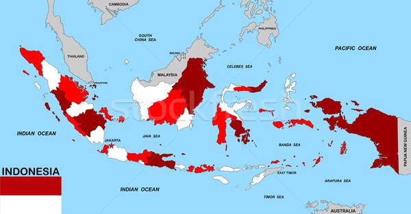 Indonésia mapa grande tamanho político bandeira Foto stock © tony4urban