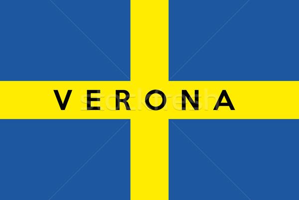 Verona cidade bandeira grande tamanho Itália Foto stock © tony4urban