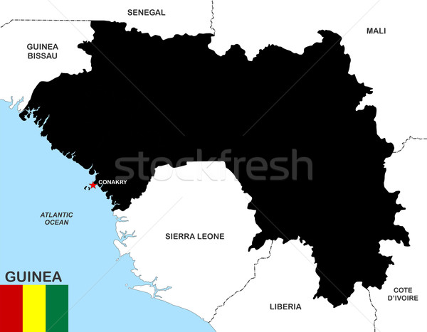 Guinea mapa grande tamaño negro bandera Foto stock © tony4urban