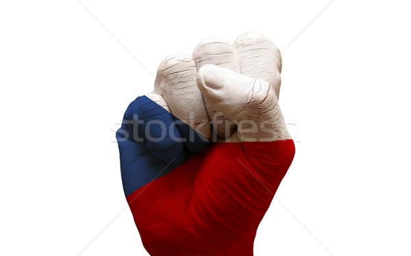 Vlag vuist man hand geschilderd land Stockfoto © tony4urban