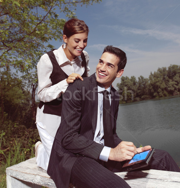 using PDA outdoors yu Stock photo © toocan