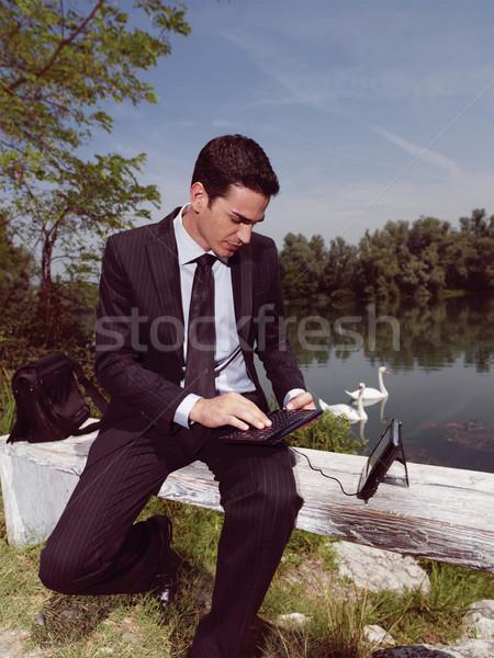 using PDA outdoors yuju Stock photo © toocan