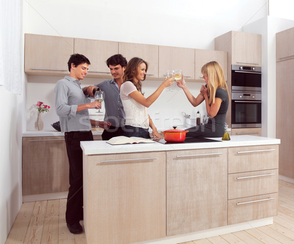four friends preparing dinner Stock photo © toocan