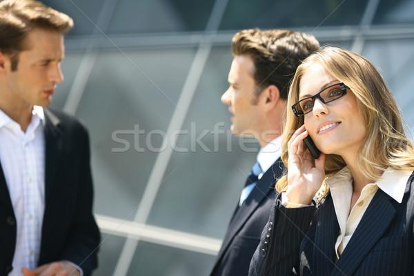 деловые люди современное здание группа человека женщины счастливым Сток-фото © toocan