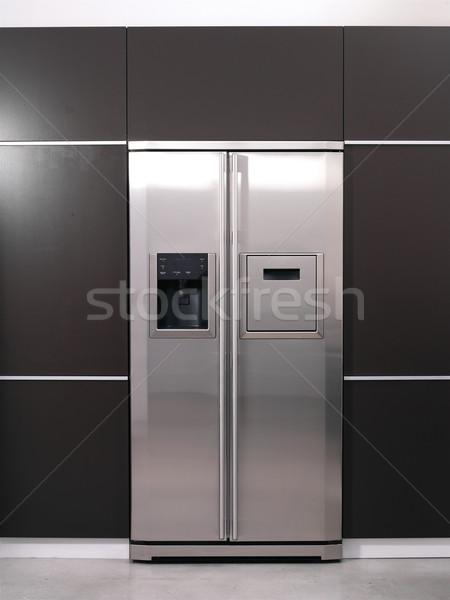 Moderno frigorifero nero bianco percorso isolato Foto d'archivio © toocan