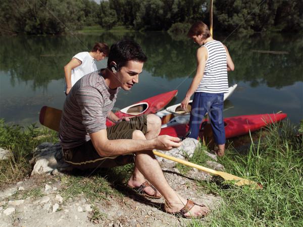 Giovani uomini amici fiume uomo sport Foto d'archivio © toocan