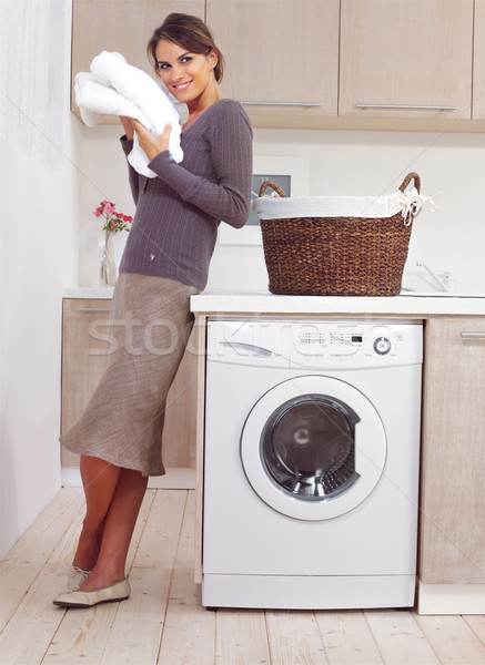 woman on washing machine Stock photo © toocan