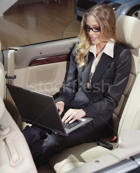 businesswoman has a fan with laptop Stock photo © toocan