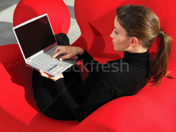 woman using laptop at home a Stock photo © toocan