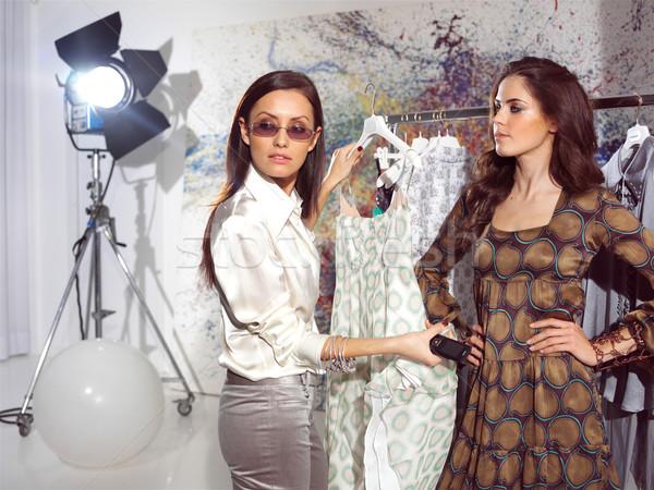 Nők haute couture nő divat ház modell Stock fotó © toocan