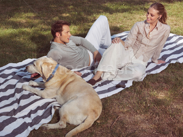 couple having rest with dog Stock photo © toocan