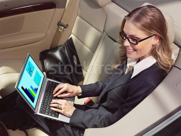 女性実業家 車 ノートパソコン ファン 黒 コンピュータ ストックフォト © toocan
