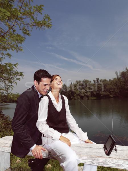 Pda odkryty piękna młodych ludzi kobieta kobiet Zdjęcia stock © toocan