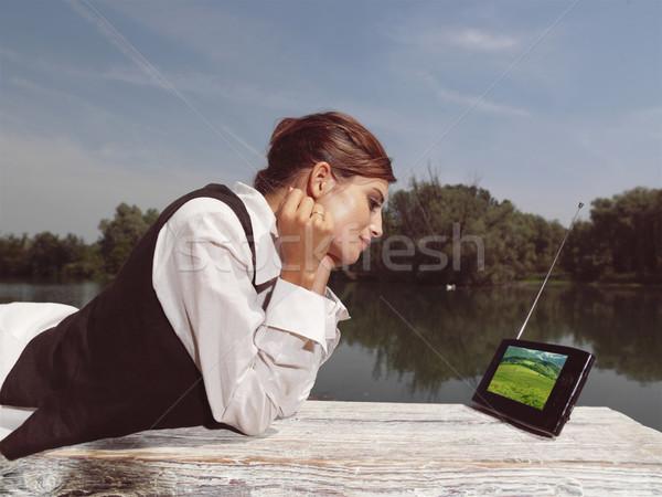 Nő laptop park lány telefon nyár Stock fotó © toocan