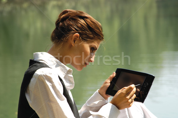 beautiful slender girl with laptop Stock photo © toocan