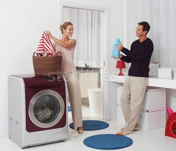 прачечной стиральная машина улыбающаяся женщина человека улыбка счастливым Сток-фото © toocan