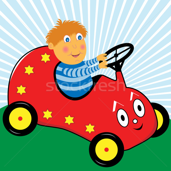 Jongen rijden auto cartoon spelen Rood Stockfoto © toots
