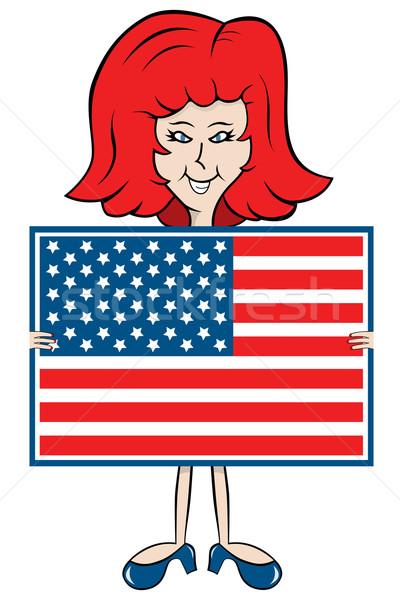 Stockfoto: Cartoon · dame · Amerikaanse · vlag · matching · schoenen