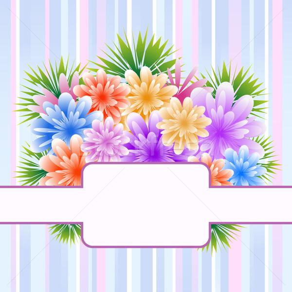 Fleurs rayé mères jour anniversaire anniversaire Photo stock © toots