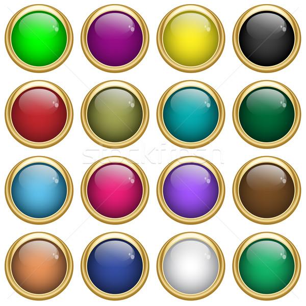 Stockfoto: Web · knoppen · goud · kleuren · schaalbaar · geïsoleerd