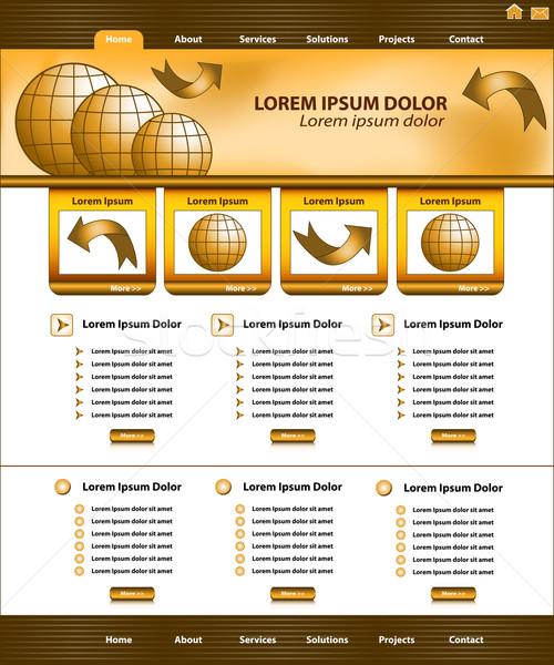 Site modèle design brun or entreprise Photo stock © toots