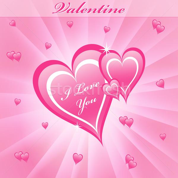 Valentin amour coeurs rose saint valentin rêveur Photo stock © toots