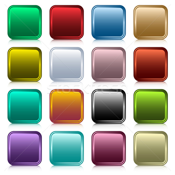 Web buttons square set Stock photo © toots