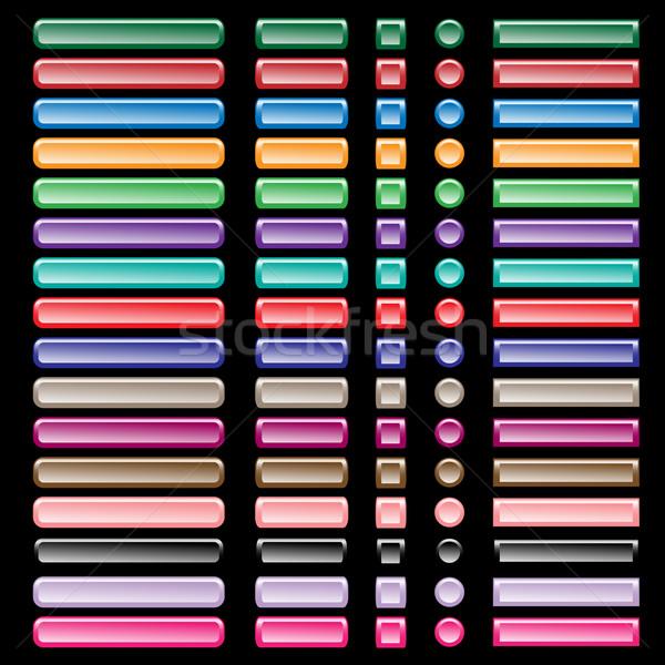 Web knoppen collectie kleuren oranje Stockfoto © toots