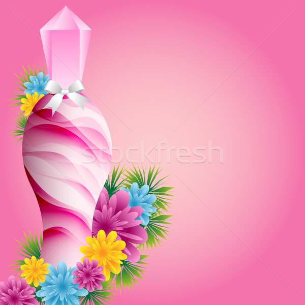 Perfum butelki kwiaty biały łuk zestaw Zdjęcia stock © toots