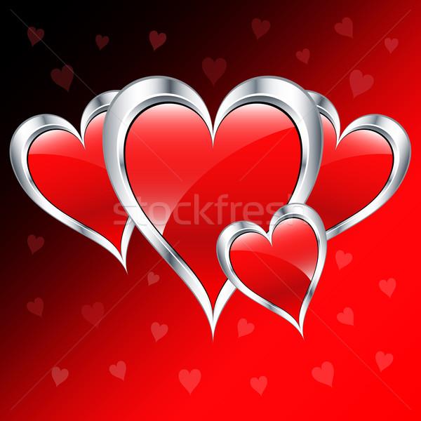 Valentijn dag liefde harten zilver Rood Stockfoto © toots