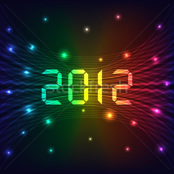 2012 ano novo feliz ano novo celebração néon luzes Foto stock © toots