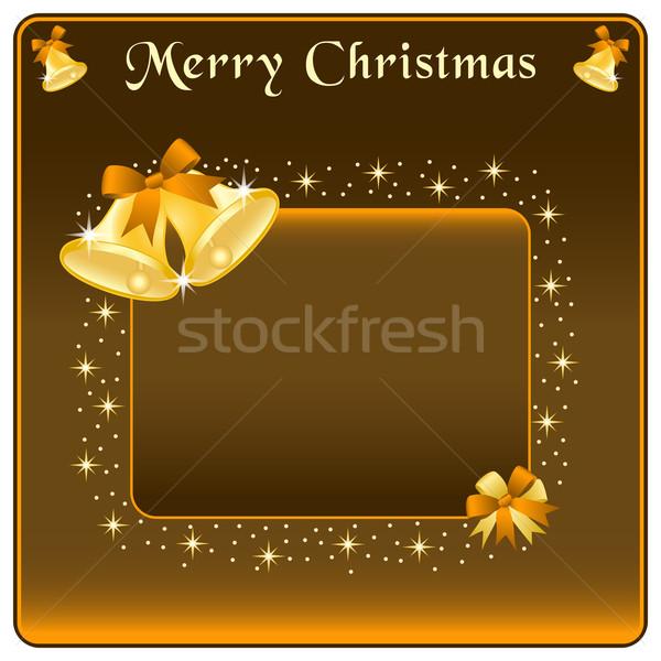 Christmas goud boeg bruin sterren exemplaar ruimte Stockfoto © toots