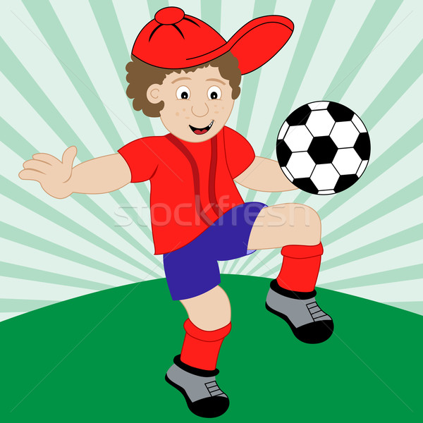 Cartoon Child Playing Football Stock photo © toots
