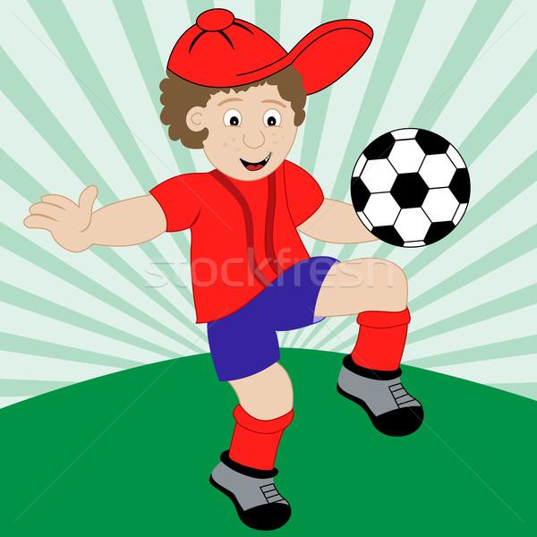 Cartoon enfant jouer football Photo stock © toots