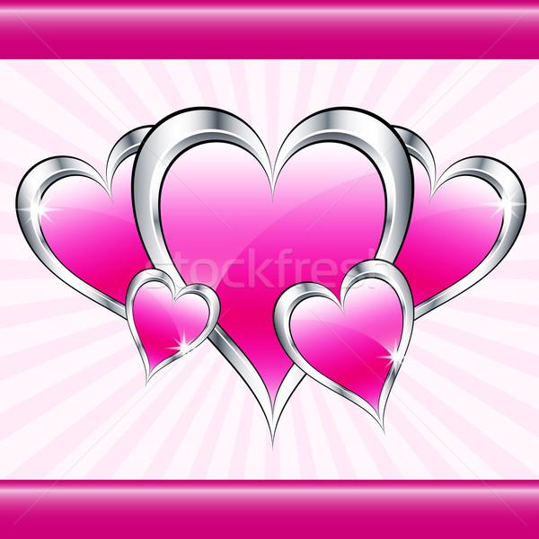Pembe sevmek kalpler sevgililer günü anneler gün Stok fotoğraf © toots